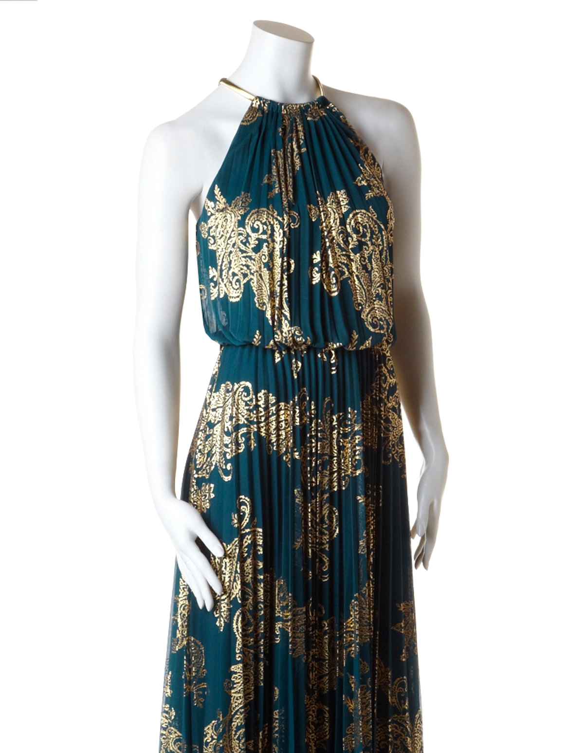 Green halter maxi dress