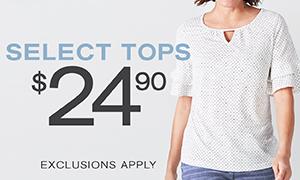 Select Tops $24.90